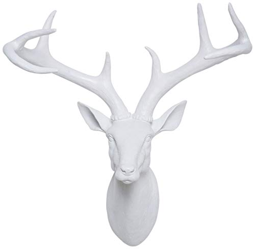 Kare Design Deco Figurilla Cabeza de Ciervo, Blanco, 45 x 40 x 20 cm