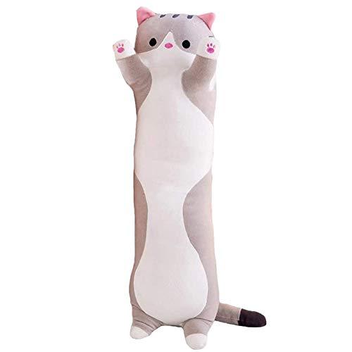 3D Cute Plush Cat Doll Soft Stuffed Kitten Soft Pillow Doll Toy Best Gift for Kids Girlfriend Boys Girls Baby (Gray, 20 Inch)