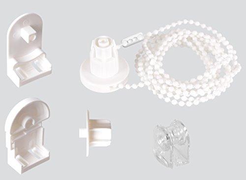 EFIXS Montageset für Rollos mit 25 mm Rollowelle - mit PVC-Träger - Länge der Kette (Bedienlänge): 120 cm und 200 cm - hier: ca. 120 cm - Farbe: weiß