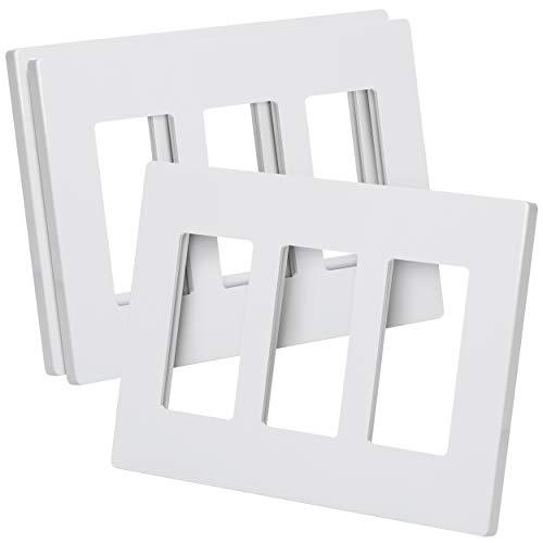 Bates- Screwless Decorator Wall Plates, Three Gang Switch Plate Covers, 3 Pack, Screwless Wall Plates 3 Gang, White Switch Plate Covers, Switch Cover Plate, Wall Switch Cover, Electrical Outlet Cover