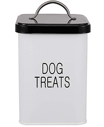 Dog Treat and Food Storage Tin with Lid and Scoop Included - White-Coated Carbon Steel - Tight Fitting Lids - Pet Food Container