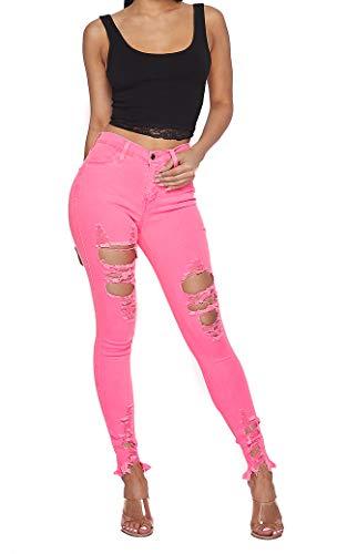 Vibrant Women's Juniors High Rise Jeans w Heavy Distressing (1, Neon Pink Crop Top Bundle