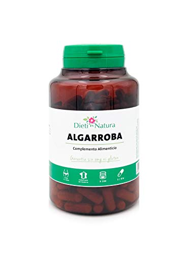 Algarroba 200 cápsulas de Dieti Natura. Sensación de saciedad [Fabricado en Francia][Garantía Sin OGM ni Gluten] (Bote de 200 cápsulas)