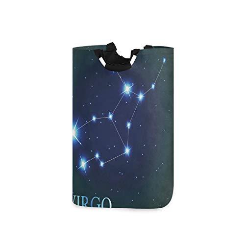 SIONOLY Wäschesack Jungfrau Sternbild Sterne Raumdruck Großer Faltbarer Wäschekorb,zusammenklappbarer Wäschekorb,zusammenklappbarer Waschvorratsbehälter