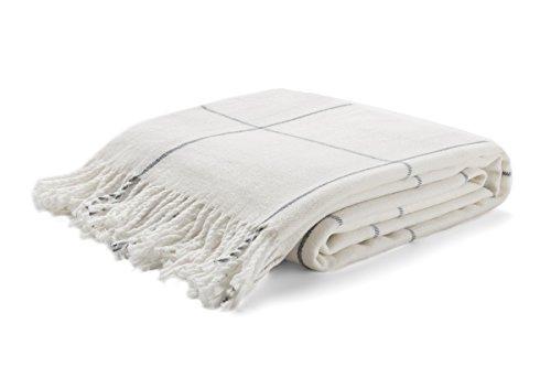 Arus, Kuscheldecke Wohndecke Tagesdecke Couch Überwurf Plaid Reisedecke, White Block, 100prozent Polyacryl, ca. 150x200 cm, 260 gr/cm²