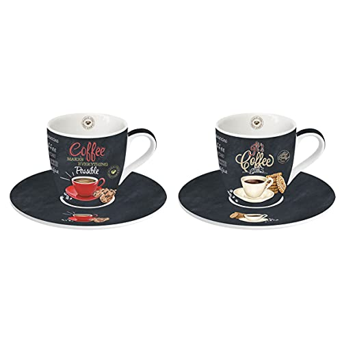 Easy Life 2 Espresso Tassen Set, Porzellan, Mehrfarbig, 2 Stück (1er Pack), 2