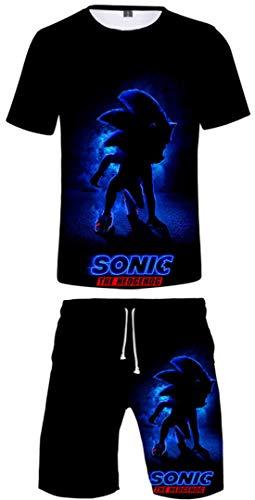 Silver Basic Conjunto de Pijama de Verano Unisex Videojuego Sonic The Hedgehog Camiseta y Pantalones Cortos para Niños y Hombres Ropa Deportiva Camiseta Sonic Silver Costume XL,751Azul Sonic-1