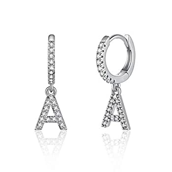 Initial Earrings for Girls Kids 925 Sterling Silver Post Small Silver Huggie Hoop Earrings Letter A Initial Dangle Earrings for Women Teen Girls Toddler Kids Jewelry Mother s Valentines Day Gifts