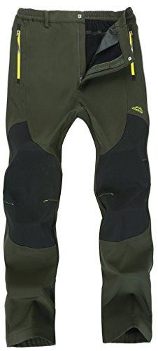 Singbring Men's Outdoor Windproof Hiking Pants Waterproof Ski Pants Medium Army Green(01F)