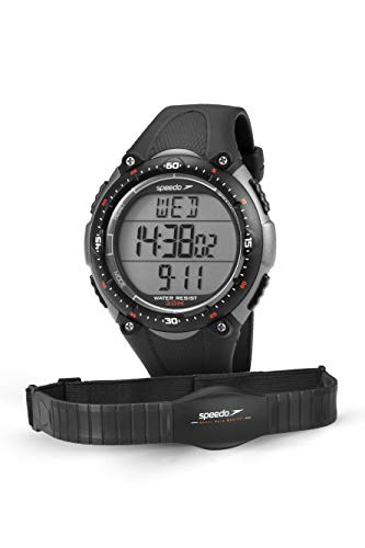 Relógio Monitor Cardíaco, Speedo, 80565G0EPNP2, Preto/ Cinza