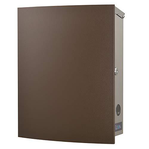 LEON (レオン) MB4504ネオ 郵便ポスト 壁掛けタイプ ステンレス製 鍵付き おしゃれ 大型 ポスト 郵便受け (マグネット付き MAIL BOXシート無し) チョコレート