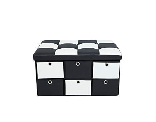 B.N.D parte superior - Banco otomano plegable para almacenamiento, reposapiés acolchado, piel sintética, color blanco y negro de 30 pulgadas, se puede utilizar como asiento de...