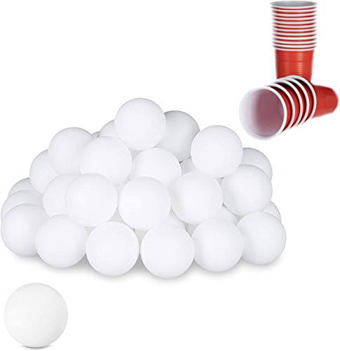 Relaxdays Beer Pong Bälle, 48 St, Tischtennisbälle, Trinkspiel, Ping Pong Bälle, ohne Aufdruck, 38 mm, Kunststoff, weiß