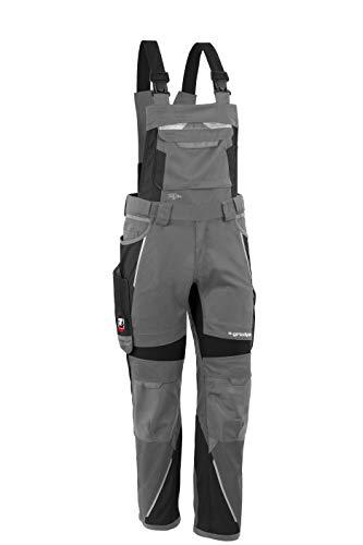 Grizzlyskin Latzhose Iron Grau/Schwarz S62 - Workwear Arbeitshose für Männer & Damen, Unisex Blaumann, Codura-Schutzhose mit vielen Taschen