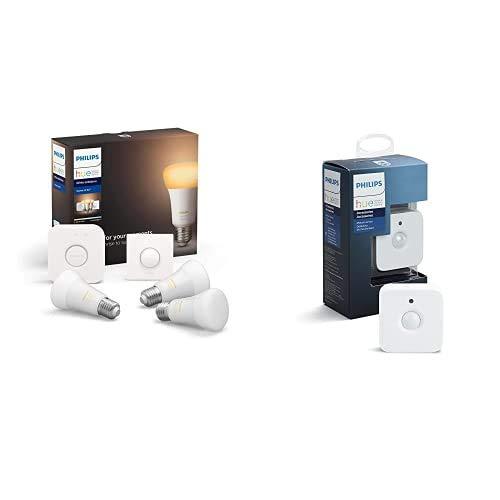 Philips Lighting Hue White Ambiance Starter Kit con 3 Lampadine, 1 Bridge Hue Controllo, 1 Telecomando Hue Smart Button + Hue Sensore di Movimento per Accensione e Spegnimento Lampadine