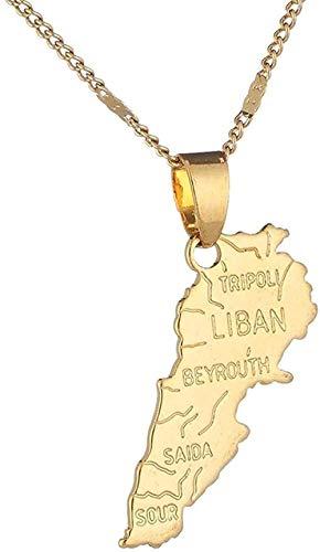 NC110 Collar Color Dorado Mapa del Líbano Collares Pendientes Mapas libaneses Collar de Regalos de joyería de Moda patriótica libanesa YUAHJIGE