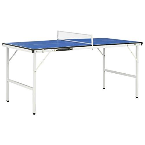 vidaXL Tischtennisplatte 5-Fuß mit Netz integriertem Griff Zusammenklappbar Tischtennistisch Spieltisch Indoor 152x76x66cm Blau MDF Stahl
