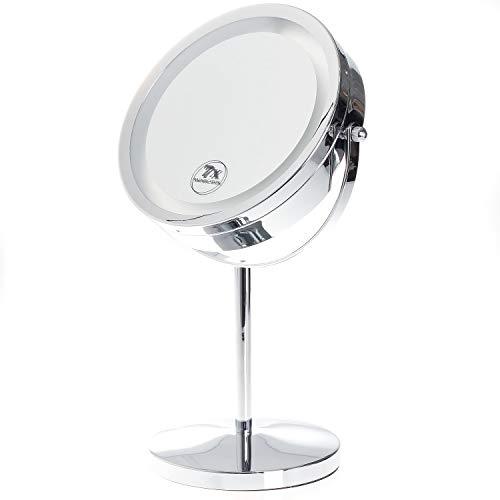 TUKA LED Specchio per Trucco Senza Fili, 7X ingrandimento, Doppio Specchio Illuminato al rasatura/Make-up, Cosmetico Specchio con Luci, 2 facciate: Normale e ingrandimento, TKD3145-7x