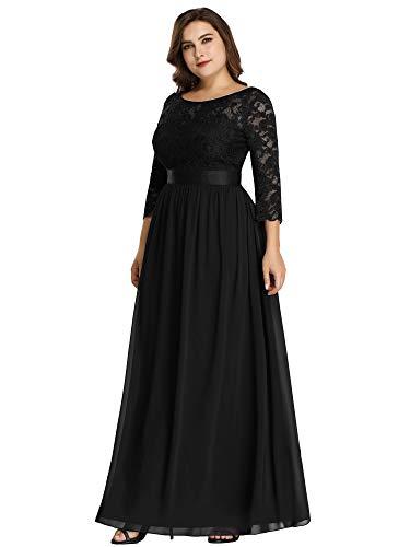 Ever-Pretty Vestito da Sera Donna 3/4 Manich Stile Impero Maxi Linea ad A Pizzo Chiffon Abito da Cerimonia Nero 42