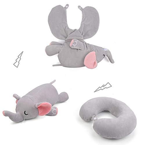 JK Graues Elefanten-Nackenkissen, kreatives Reisekissen mit Schnappverschluss, verwandelt sich von U-förmigem Kissen zu gefülltem Plüschtier-Spielzeug für Kinder und Erwachsene