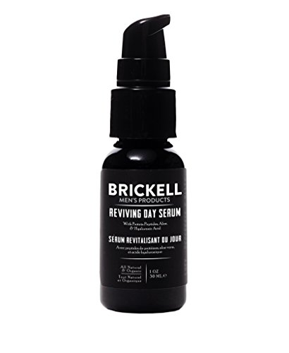 Brickell Men's Anti Aging Reviving Day Face Serum for Men, Natural and Organic Serum For Face with Hyaluronic Acid, Protein Peptides to Restore Firmness and Stimulate Collagen, 1 Ounce, Scented