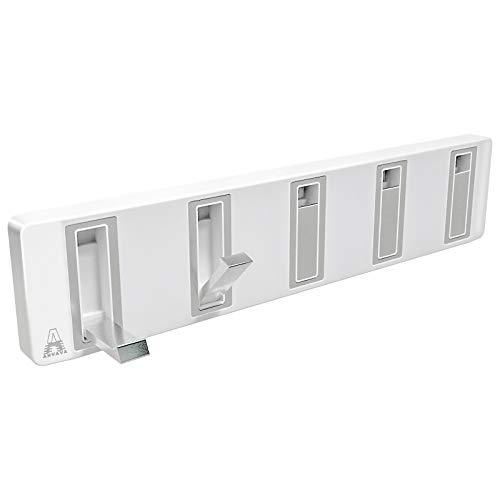 ANVAVA 5 Plegables Ganchos Toalla Aluminio Perchero Pared de Cocina Baño Colgadores Gancho de Puerta para Abrigos, Blanco