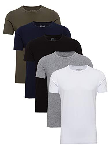 Yazubi 5er Pack Basic Baumwoll Arbeits T-Shirt Herren Tshirt Set für Männer T Shirt Rundhalsausschnitt Mythic, Mix (mix1), L