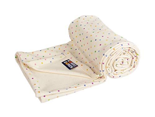 Kaarsgaren Baby und Kinder Bio-Baumwoll-Decke für den Sommer, Kuscheldecke für Jungen und Mädchen, Kinderwagendecke, Babydecke, Erstlingsdecke, Sommerdecke (Natur Sterne, 70 x 100 cm)