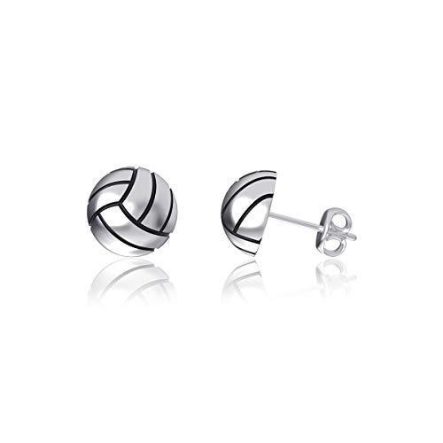 Dayna Designs Volleyball Post Earrings - Sterling Silver Jewelry Small for Women/Girls