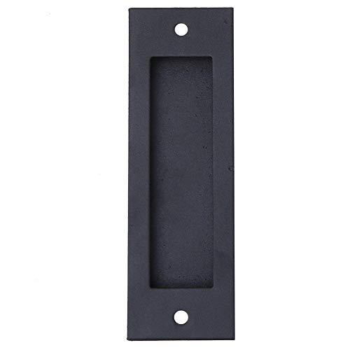 Tirador de puerta empotrado de hierro retro para cajón, tirador de armario oculto, acabado negro mate, tirador de puerta corredera para cajón de armario con 2 tornillos