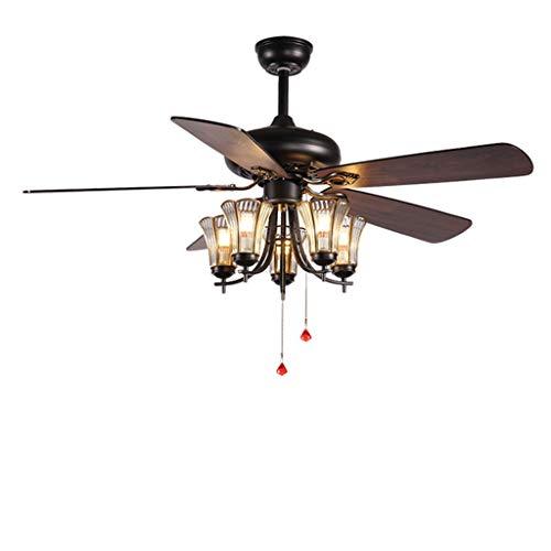Ventiladores para el Techo con Lámpara 5 Jefes Ventilador de techo retro luz americana con cable de control E27 for el hogar Sala de estar Ventilador Iluminación decorativa Araña, 42'/ 52' Ventilador