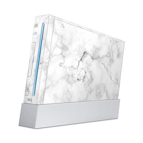 Skins4u Aufkleber Design Schutzfolie Vinyl Skin kompatibel mit Nintendo Wii Konsole Marmor Weiss