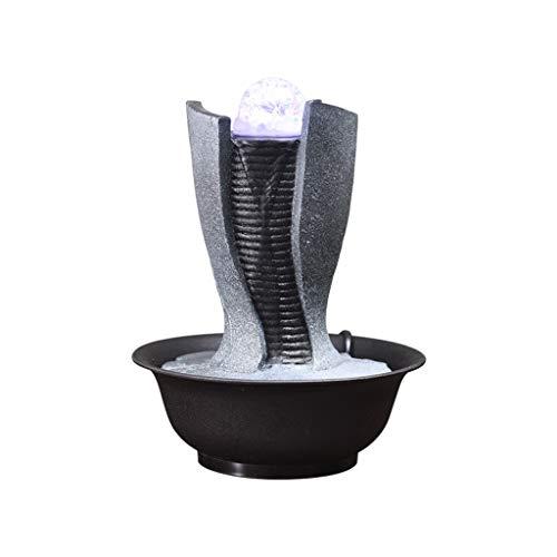 BFZJ decor Fuente de Agua Interior, tamaño pequeño, Hace decoración de Mesa, compacta y Liviana, con Adornos de Acuario geométricos Simples (Color : D-22 * 22 * 28cm)