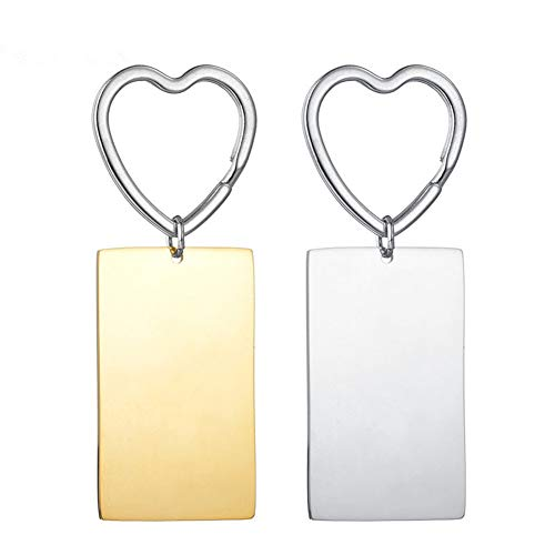 LiFashion Personalized Couple Keychain for Him Her,2Pcs Stainless Steel Custom Name Engraved Rectangle ID Tag Heart Chain Keyrings His Her Couple Jewelry Gift for Wife,Husband,Girlfriend,Boyfriend