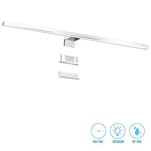ERWEY 2 in 1 LED Spiegelleuchte IP44 Badleuchte 60cm Badlampe Neutralweiß Schminklicht 230V Schrankleuchte Spiegelschrank Aufbauleuchte Bad Klemmleuchte Wandleuchte (60cm 4000K 8W)