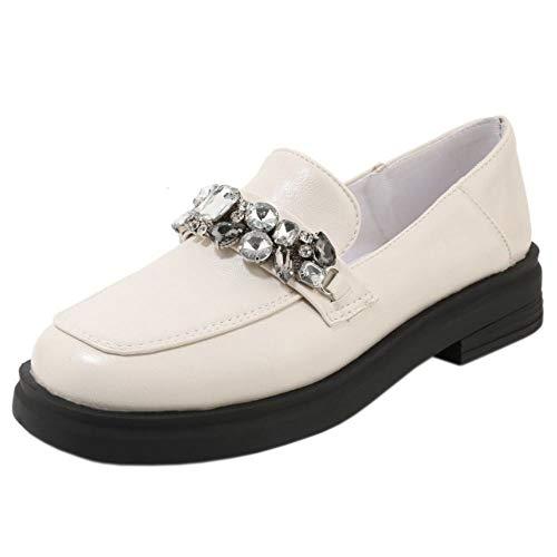 BIGABIGA Mujer Moda Punta Redonda Shallow Casual Lofers Zapatos Tacón Bajo Rhinestones Beige Talla 46 Asiática