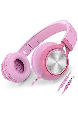 AILIHEN Kopfhörer Mit Kabel Mikrofon Lautstärkeregelung Leicht Faltbar Musik Headsets 3,5mm für Smartphones PC Laptop Mac MP3 Tablet (Pink)