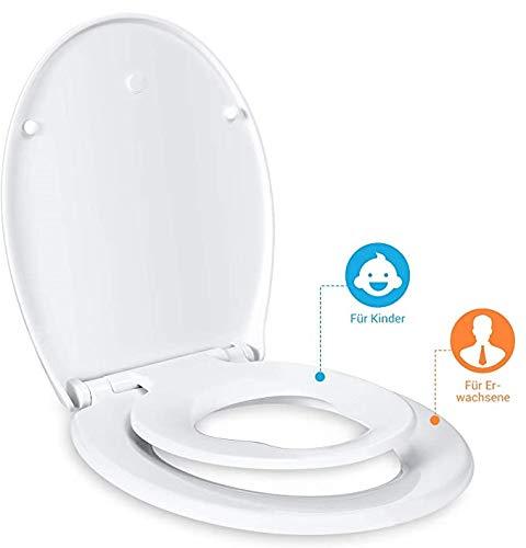 Dalmo Toilettendeckel Kinder und Erwachsene mit integriertem Kindersitz, Absenkautomatik Funktion, abnehmbarer Familien Toilettensitz, Befestigung von oben, ovale O-Form WC Sitz Kinder, Weiß