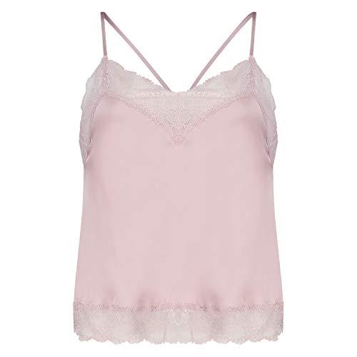 HUNKEMÖLLER Damen Pyjama-Cami-Top aus Spitze und Satin Lila XS