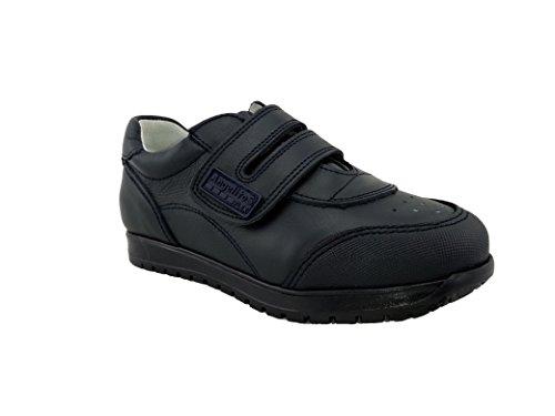 Zapatillas Deportivas Infantiles Colegiales con Puntera Reforzada, Todo Piel. mod.904. Calzado Infantil Made in Spain, Garantia de Calidad. (33, Azul Marino)