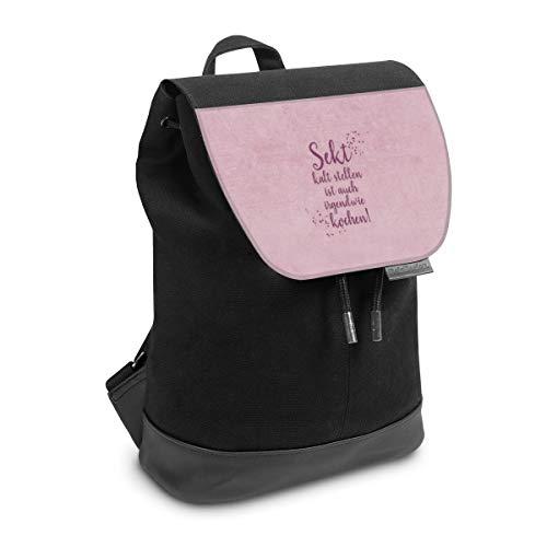 Rucksack mit Lasche 30 cm x 20 cm Daypack für Damen & Herren Tasche mit Design Statement Sekt Mama