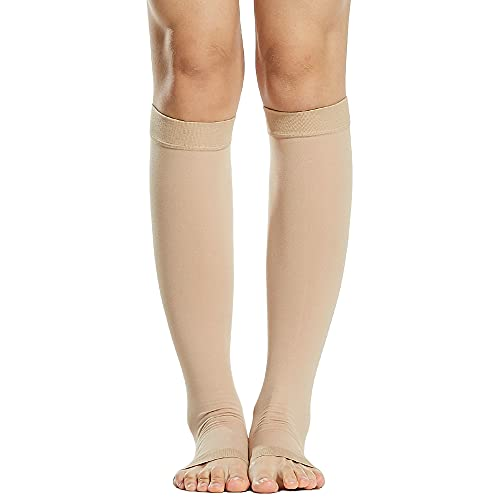 mewmewcat 1 par de meias de compressão Homens Mulheres 20-30mmHg Meias de compressão de dedos abertos Mangas de compressão para inchaço das veias varicosas