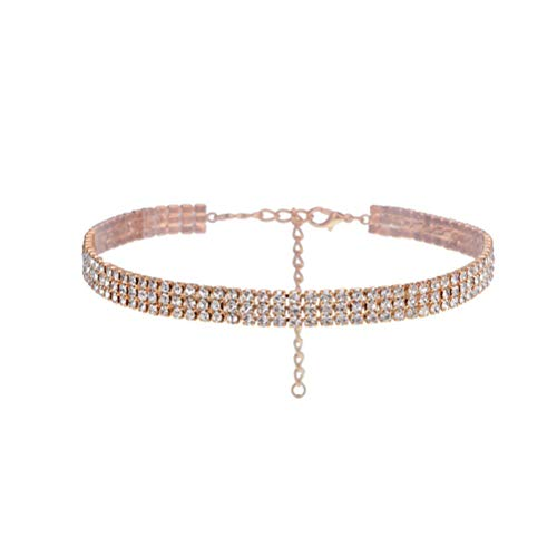 Fenical Chocker 3 Reihen einstellbar weiß Strass Choker Halskette für Frauen Mädchen (Gold)
