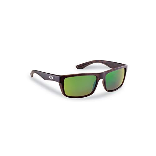 Flying Fisherman Streamer Polarized Sunglasses with AcuTint UV Blocker for Fishing and Outdoor Sports, Matte Tortoise Frames/Amber-Green Mirror Lenses, Medium