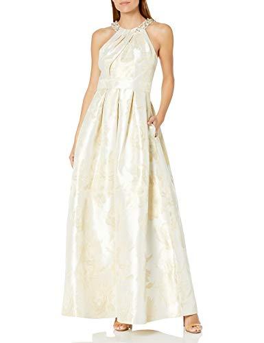 Eliza J Damen Ballgown with Beaded Detail at Neckline Kleid für besondere Anlässe, Elfenbein/Gold, 44
