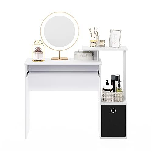FURINNO Econ Multipurpose Home Office Computer Writing Desk, White/Black