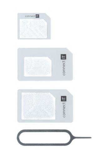 Connect IT CI-172 SIM Card Adapter Adaptador para Tarjeta de Memoria sim/Flash - Adaptador para Tarjetas de Memoria (3 Pieza(s))