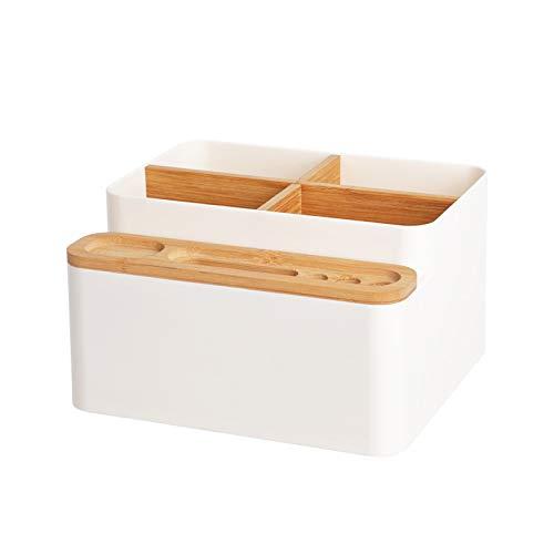 AZYJBF Organizador de Escritorio de Bambú, Caja de Almacenamiento de Madera, Caja Organizadora de Almacenamiento de Oficina en Casa Desmontable, Herramientas de Maquillaje de Escritorio