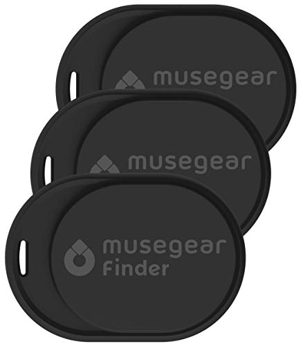 musegear Keyfinder Mini con Bluetooth App I Keyfinder ad Alta Voce per Telefono Cellulare in Nero 3-Pack I GPS Tracking/Pairing I Trovare Le Chiavi