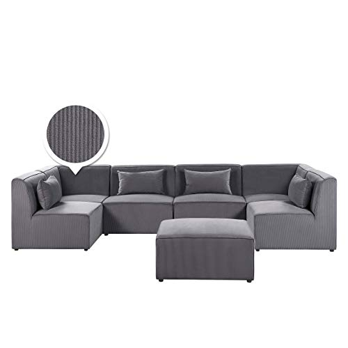Canapé d'angle 6 places Gris Velours Luxe Moderne Panoramique